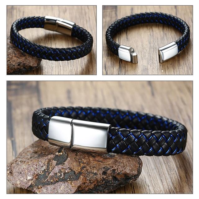 Vnox Engravable Men Bracelet ID Bangle Blue Black Braided Genuine Leather Women Bangle Stainless Steel Male Jewelry