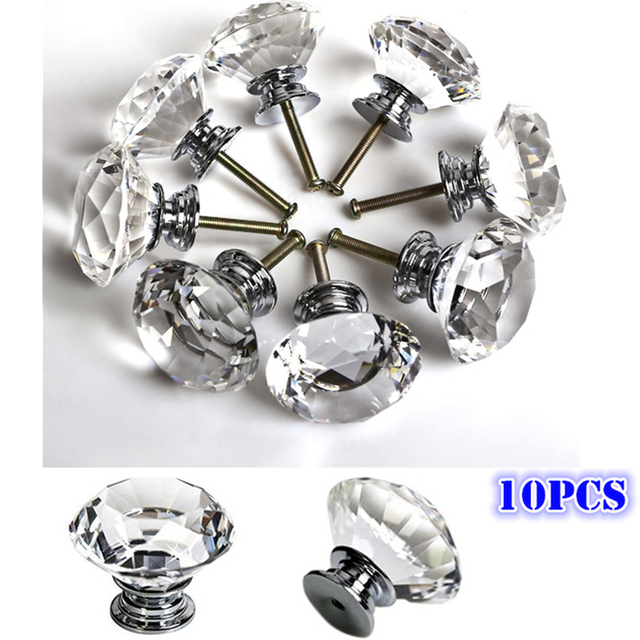 Exceptionnel 10pcs/Set Clear Crystal Glass 30mm Diamond Door Handles For Kitchen Cabinet  Cupboard Drawer Pulls