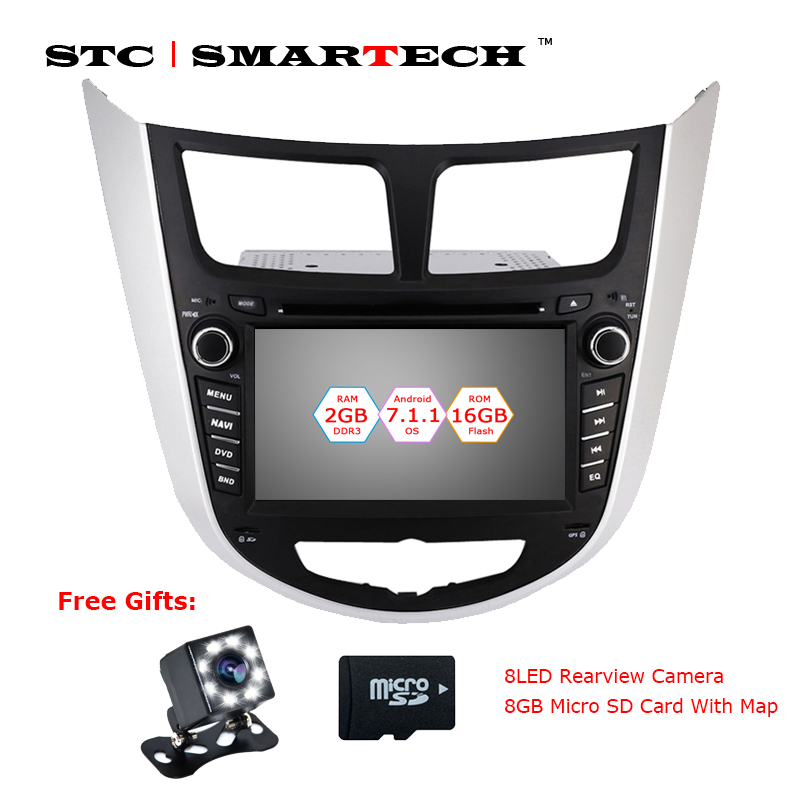 SMARTECH 2 din Android 7.1.2 Car CD DVD Audio Player GPS System for Hyundai Solaris accent Verna i25 Quad Core 2GB RAM 16GB ROM
