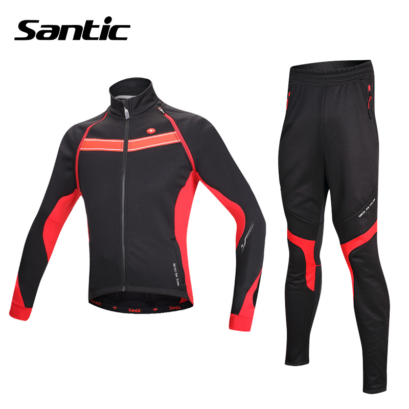Santic Winter Cycling Jersey Kit Thermal Fleece Long Sleeve Jacket + Warm Pants Cycling Set Bicycle Bike Clothing Ropa Ciclismo