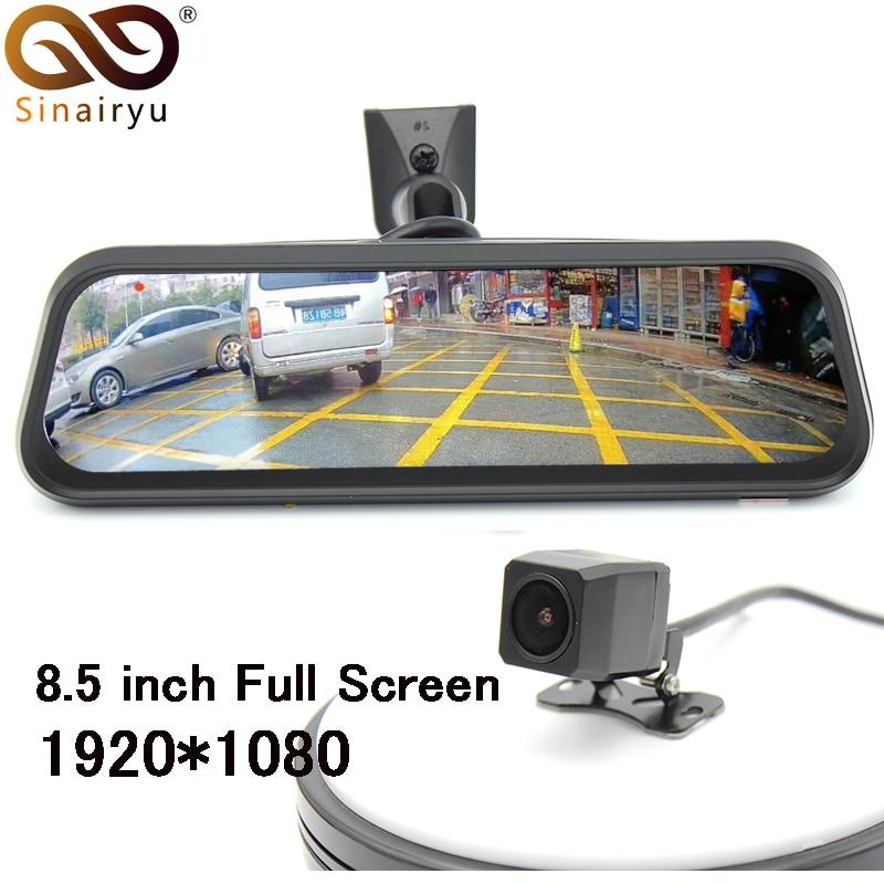Sinairyu 1080P Dual Lens 8.5&#8243; Steaming Rearview Mirror Monitor DVR Digital Video Recorder <font><b>OEM</b></font> Bracket And MCCD Rear View Camera