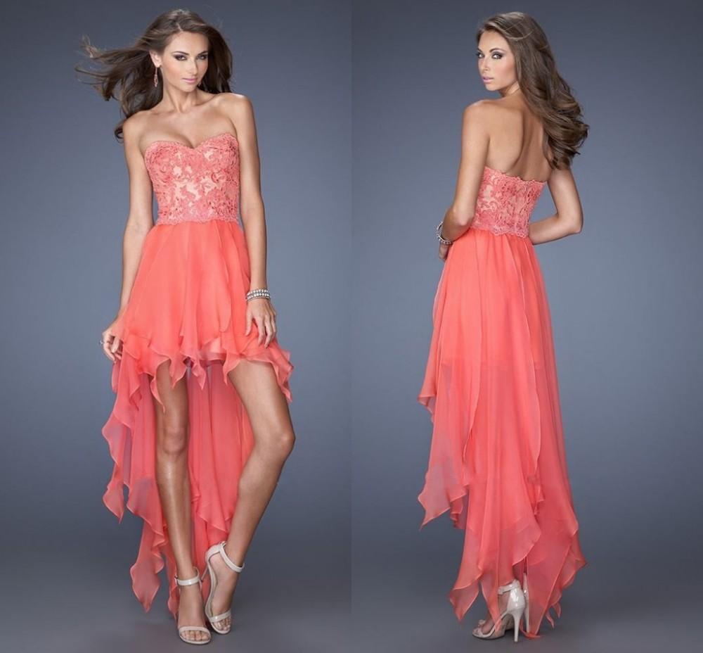 Vestidos de graduacion de primaria color coral largos
