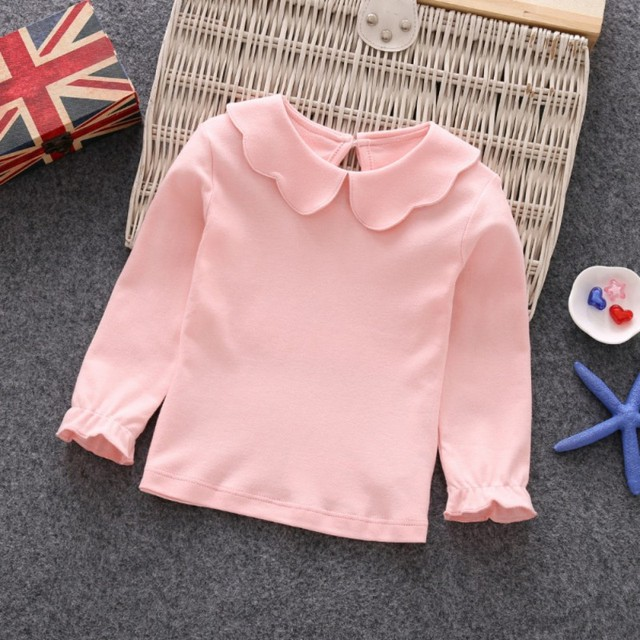Baby Girls T-Shirts Long Sleeve T-shirt Cotton Casual Princess Toddler Solid Tops Blouse 1