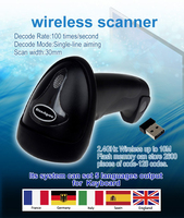 Free Shipping Wireless Bluetooth Laser Code Barcode Scanner Bar With Anti Lost Memory Storage