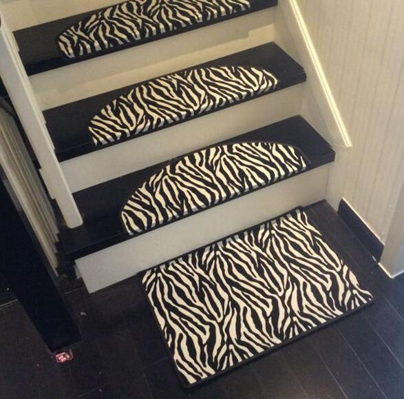 Leather Zebra Carpet For Stair Non Slip Floor Staircase Carpets Rug 65*24cm  Black And White Mosaic Stair Treads Protector Mat In Carpet From Home U0026  Garden ...