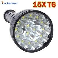 King of Flashlight 15 LEDs XML T6 18650 26650 torch exploration flashlight tactical lantern, Waterproof camping ,send gift