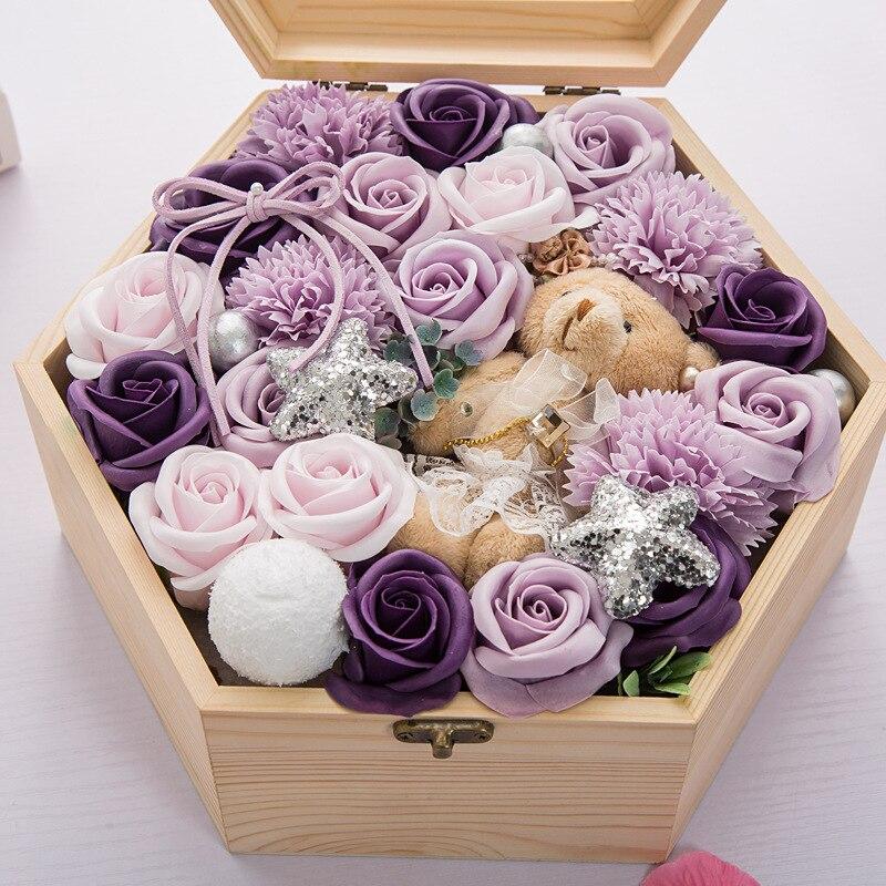 Шестигранная вечная деревянная коробка мыло цветок подарочная коробка День Святого Валентина искусственный цветок Бесплатная доставка