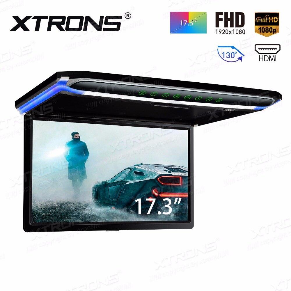 17,3 монитор 1080 P видео HD цифровой TFT экран широкий экран ультра тонкий смонтированный автомобильный крыша плеер HDMI IR FM USB SD без DVD