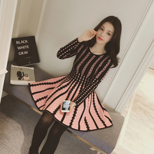 2016 new spring temperament big swing knit dress long sleeve head sweater dress pleated