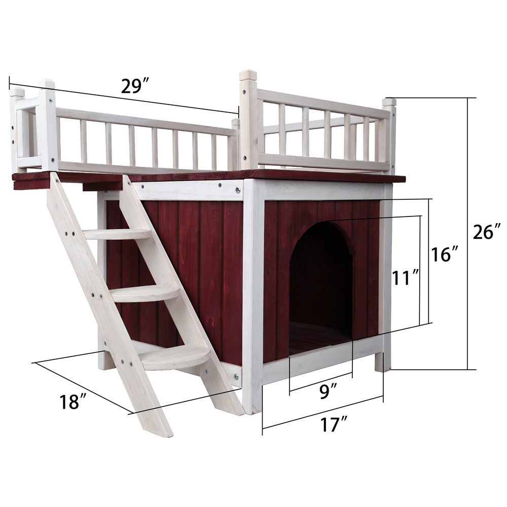 Pet Supplies Cats Beds Furniture Petsfit Indoor Wooden Dog Pet Cat House With Stairs Cats Fundar Com Co