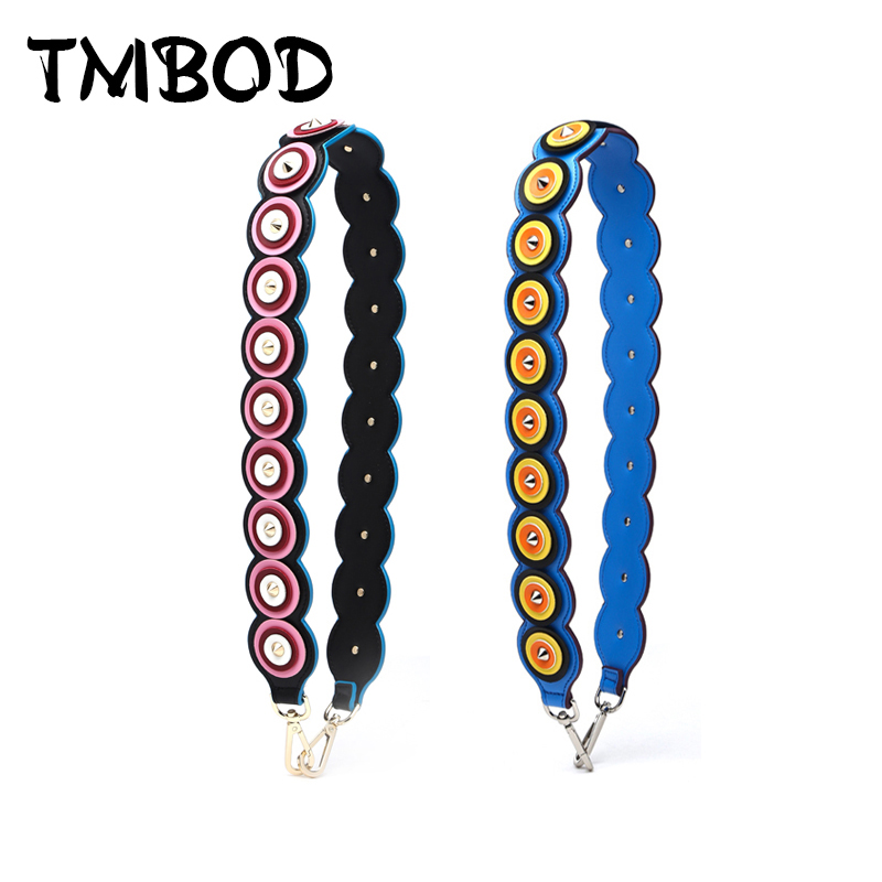 New 2018 Interchangeable PU Leather Circle Panelled Shoulder Strap Rivets Trim Strap You Brand Strap Belts Handbags j009