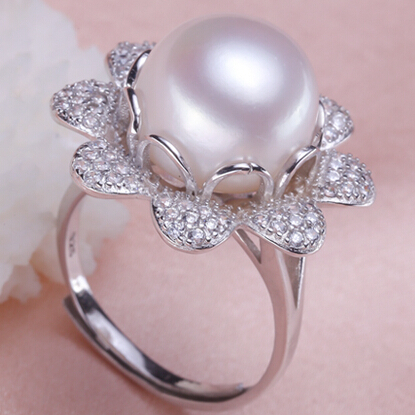 100 natural freshwater pearl ring 11 12mm pearl 925 silver accessory - Nice Wedding Rings
