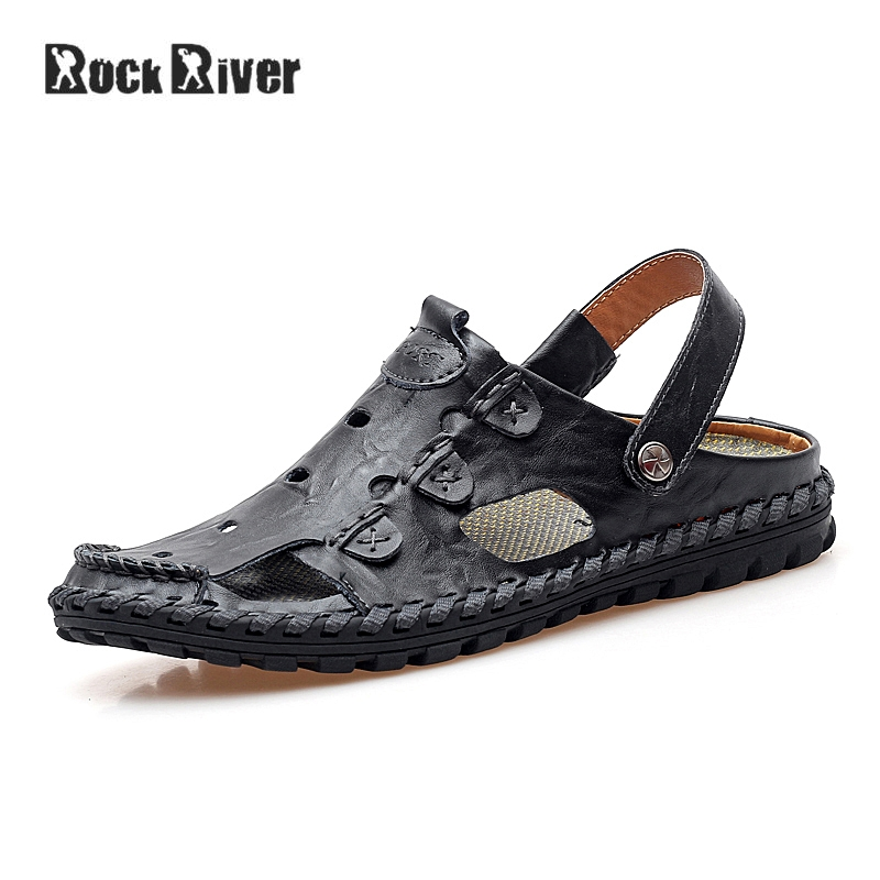 2018 Genuine Leather Sandals Men Breathable Mens Sandals Summer Outdoor Beach Sandals Brand Casual Slip-on Slippers Men yessun for iphone android app car front dash camera cam for jeep wrangle dvr driving video recorder control black box functi