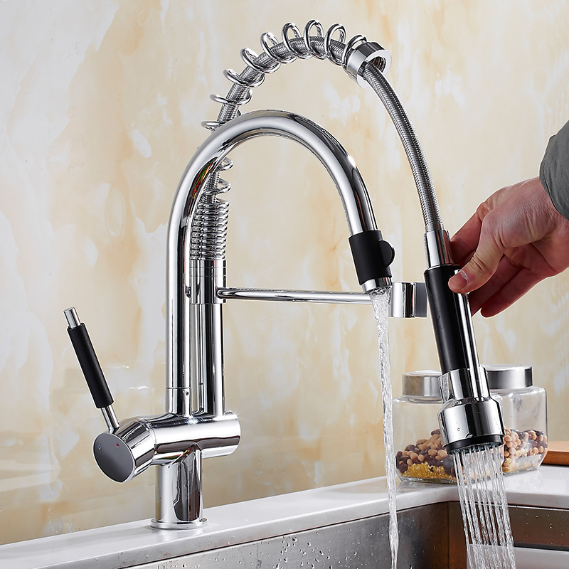 Tirez le robinet de cuisine en laiton grue pour la cuisine pont monté Chrome filtre à eau robinet évier robinet mélangeur 3 voies robinet de cuisine