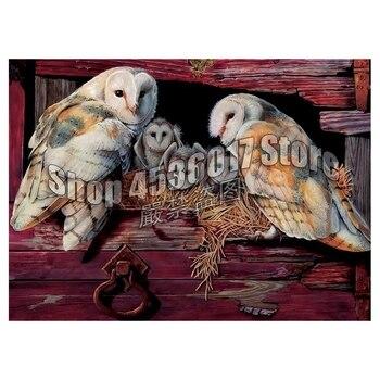 Búhos de Granero, pintura de diamante Diy, punto de cruz, mosaico de pájaros bordados con diamantes, pinturas de animales de granja, lienzo completo de diamantes de imitación