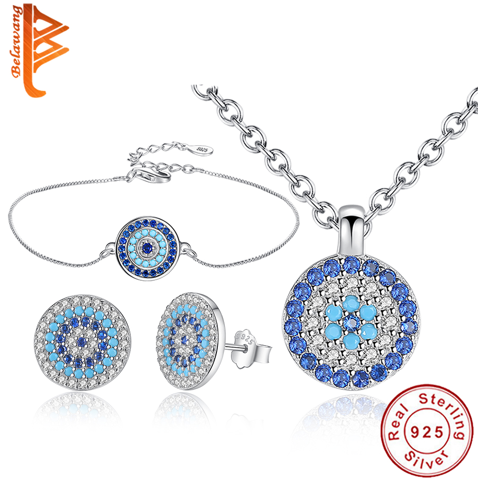 BELAWANG 925 Sterling Silver Jewelry Sets For Women Blue Crystal Lucky Eye Necklace Bracelet Earrings Sets Wedding Party Gift-in Jewelry Sets from Jewelry & Accessories    1