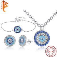 BELAWANG 925 Sterling Silver Jewelry Sets For Women Blue Crystal Lucky Eye Necklace Bracelet Earrings Sets Wedding Party Gift