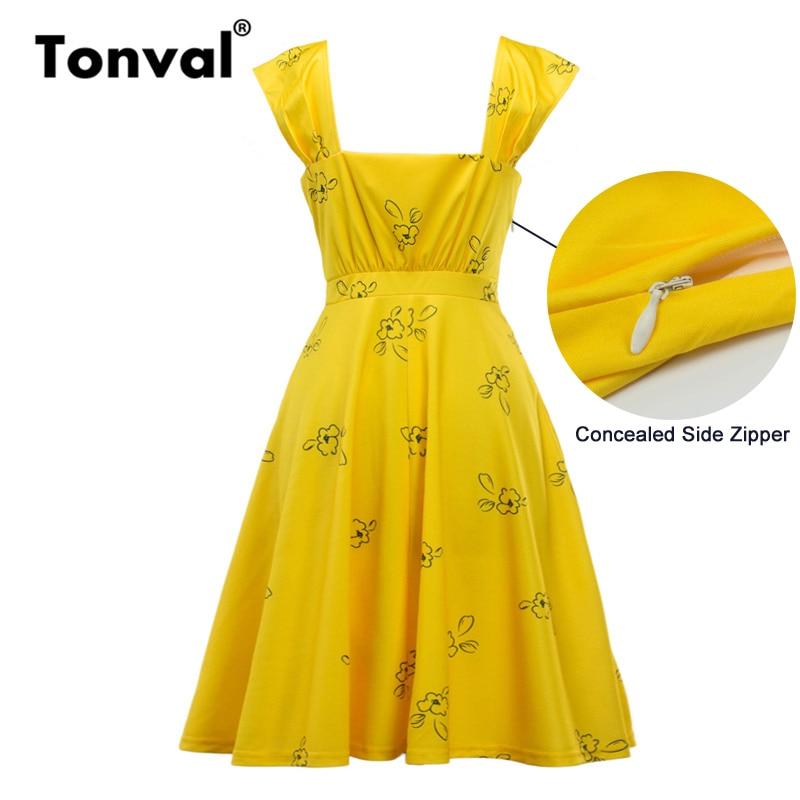 ba058dfb29ff3 Tonval Vintage Print Yellow Dress Casual Summer Women Cap Sleeve Cute  Dresses Square Collar Backless Elegant Skater Dress