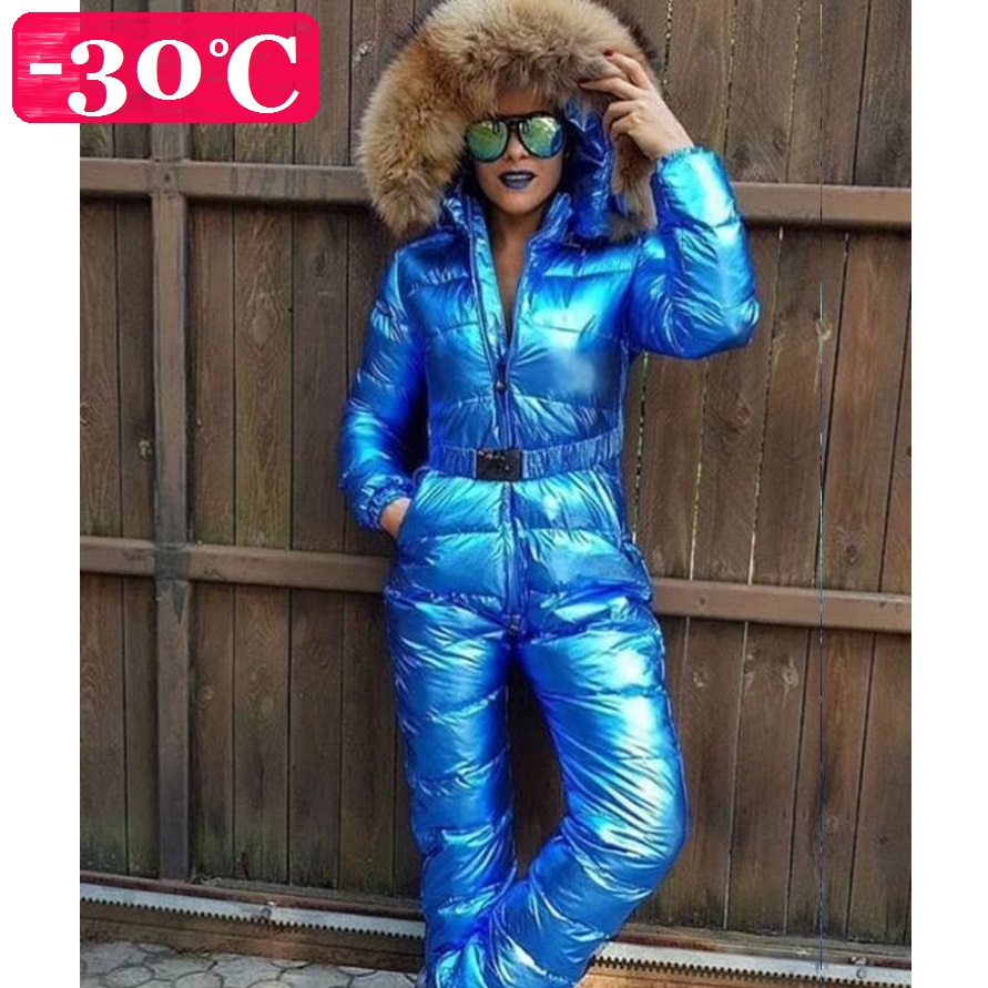 Winter Women Down Rompers Bodysuits Snow Wear with Natural Fur on Cap Warm Women Jumpsuits Girl Down Catsuits 30 degrees