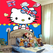 KTV bars non-woven wallpaper mural theme children's room cartoon girl warm pink hello kitty wallpaper(China (Mainland))