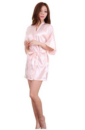 Delle donne di Raso Di Seta Corto di Notte Veste Solido Kimono Robe di Modo Accappatoio Sexy Accappatoio Vestaglia Femme Cerimonia Nuziale Della Sposa Damigella D'onore Robe