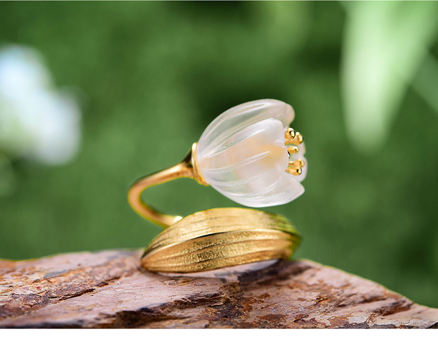 Natural Crystal Handmade Fine Flower Ring22