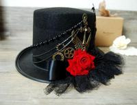 Vintage Gothic Black Wool Top Hat Lace Rose Gears Chains Hats Steampunk