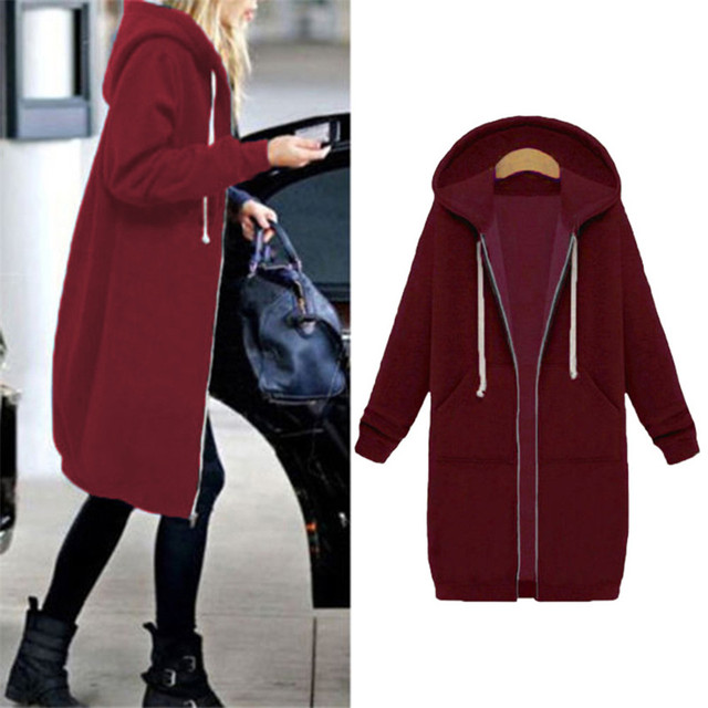Autumn Winte Women Casual Long Zipper Hooded Jacket Hoodies Sweatshirt Vintage Plus Size 5XL Pink Outwear Hoody Coat Clothing 2
