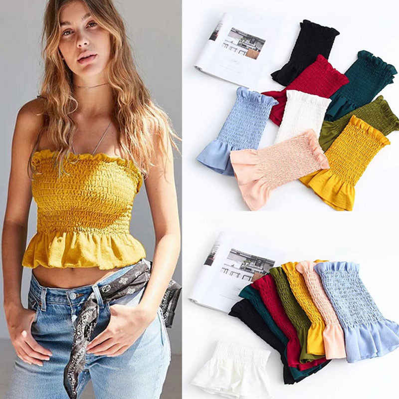 f1d5e91689b Women Ladies Fashion Sweet Summer Tube Tops 8 Colors Sleeveless Ruffles  Ruched Skinny Solid Short Length