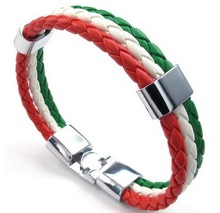 Jewelry Mens Womens PU Leather Braided Soccer Fan Nation Wristband Team Feather Bracelet Italy Flag Cuff Red White Green