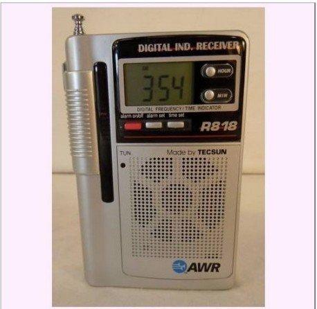 10pcs Tecsun R-818 FM MV SW Clock Portable Pocket Radio R818