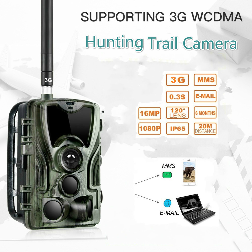 3G Hunting Camera 16MP Trail Camera SMS/MMS/SMTP Photo Traps 0.3s Trigger Time Camera Trap Wild Cameras HC801G Waterproof