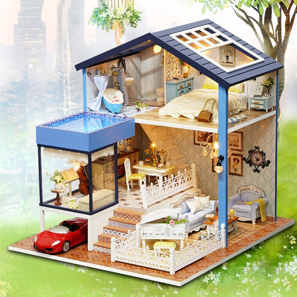 Architecture/diy House/mininatures Ambitious Diy Miniature Model House Large Wooden Toy House 3d Wooden Miniaturas Dollhouse Toys For Children Birthday Gifts Reliable Performance