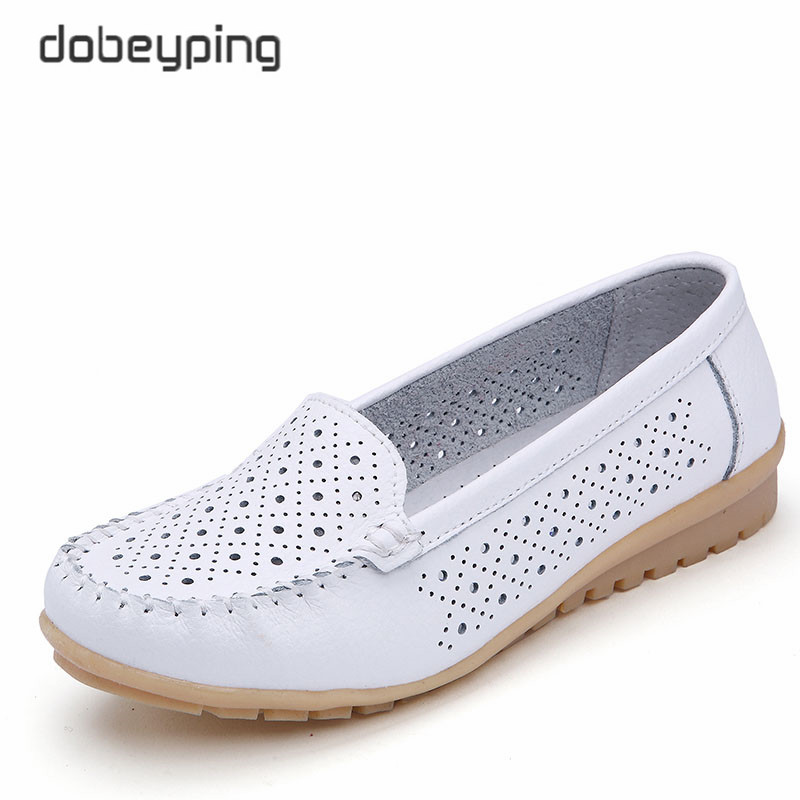 dobeyping 2018 Casual Summer Shoes Woman Soft Cow   Leather   Women Flats Shoe Slip On Women's Loafers Hollow Mother Shoe Size 35-42