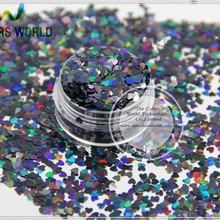 LM-10 Размеры 3 мм лазерной голографической Черный Цвет Блеск блестка он Книги по искусству формы блестки для Дизайн ногтей DIY supplies1pack = 50 г