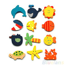 24 pcs Colorful Kids Baby Wood Cartoon Fridge Magnet Child Kids Educational Toys for Children