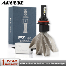 цена на AROUSE 2pcs P7 9004 H3 H4 H7 H11 Car LED Headlight Braid Radiating 60W 12000LM CSP Auto Headlamp Bulbs H1 H13 HB3 Car Fog Lights
