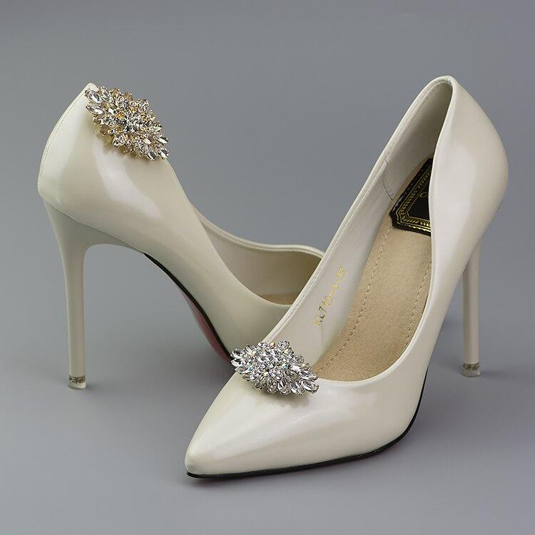 f023244da7e Zapatos de tacón alto removibles para mujer zapatos y sandalias clips  zapatos decorativos dorados y plateados diamantes de imitación de cristal  de lujo en ...