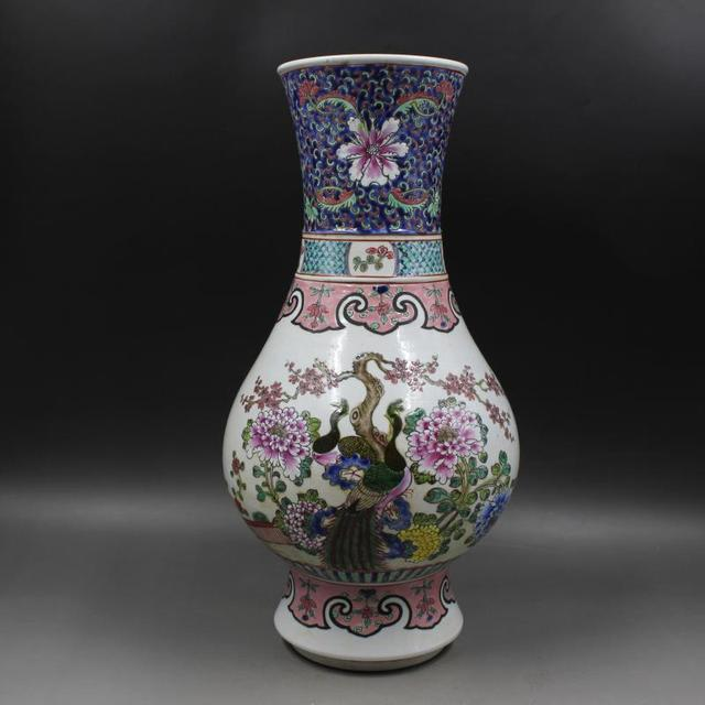 Antique Old Chinese Porcelain Vasepastel Phoenix Peony Bottlelarge