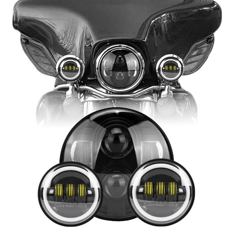 7 Round Headlight lamps Led h4 Headlights 7 inch Led Headlight + A Pair CE DOT Approved 4.5  Led Moto Headlight For Harley