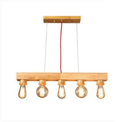 Suspensão luz Pingente de Madeira De Madeira do vintage de 70*15 centímetros, com E27 5 Peças Edison Lâmpadas para Bar Café Quarto Luminária