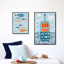 Mediterranean Art in the Waves of Sea Bottle Fish and Boats A4 Canvas Painting Print Poster Picture Wall Home Decor