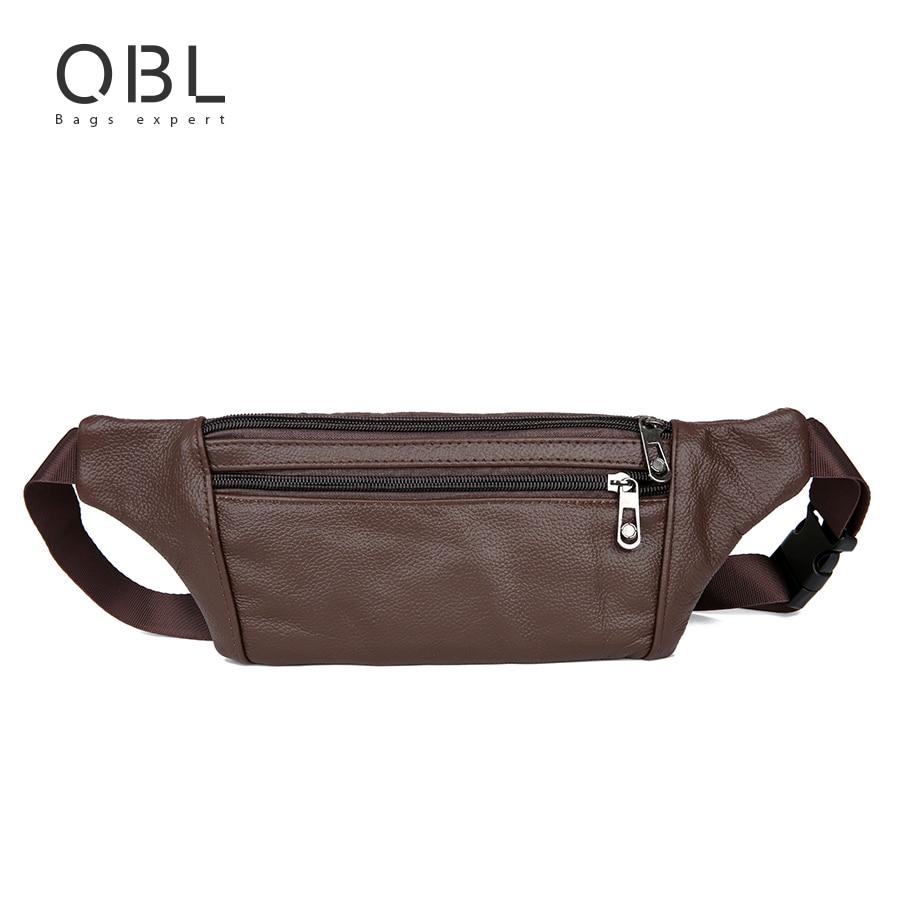 QiBoLu Cow Genuine Leather Men Waist Pack Fanny Pack Bum Bag Man Pouch Travel Cash Card Pochete Bolso Cintura Homme Borsa MBA20