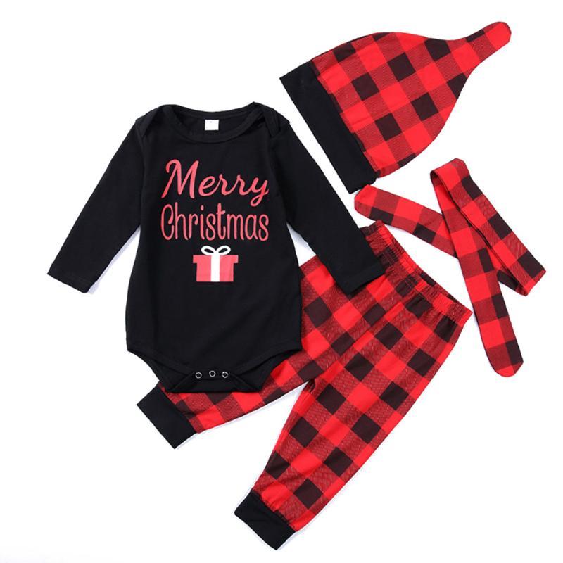 4pcs/set Autumn Baby Boy Girl Clothes Set Letter Print Long Sleeve Romper Pants Hat Headband Newborn Infant Clothing Outfits Set