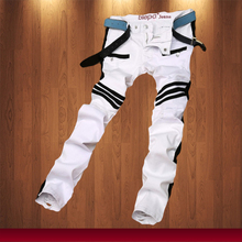 Fashion Men Ripped Denim Jeans White Paris Desinger Slim Fit Contrasted Denim Biker Jeans Distressed Jeans
