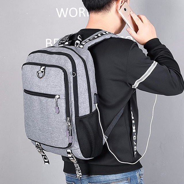 Men's backpack Male Waterproof USB charging travel School Sport backpack oxford casual laptop backpack Casual For Men's bag Pack 3