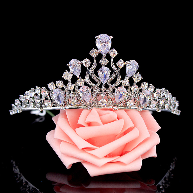 Cubic Zirconia Wedding Tiara Silver Crown Bridal Headband Hair Accessories for Bride Hair Band Girls Princess Crown King Queen