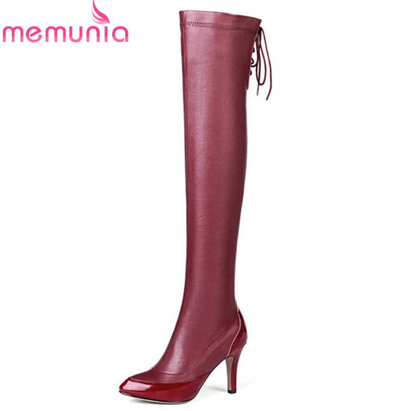 MEMUNIA 2018 newest over the knee boots women pointed toe autumn boots lace up sexy stiletto heels shoes woman long boots women spring autumn lace up over the knee boots pointed cross tied and spike heels long boots solid high heels boots
