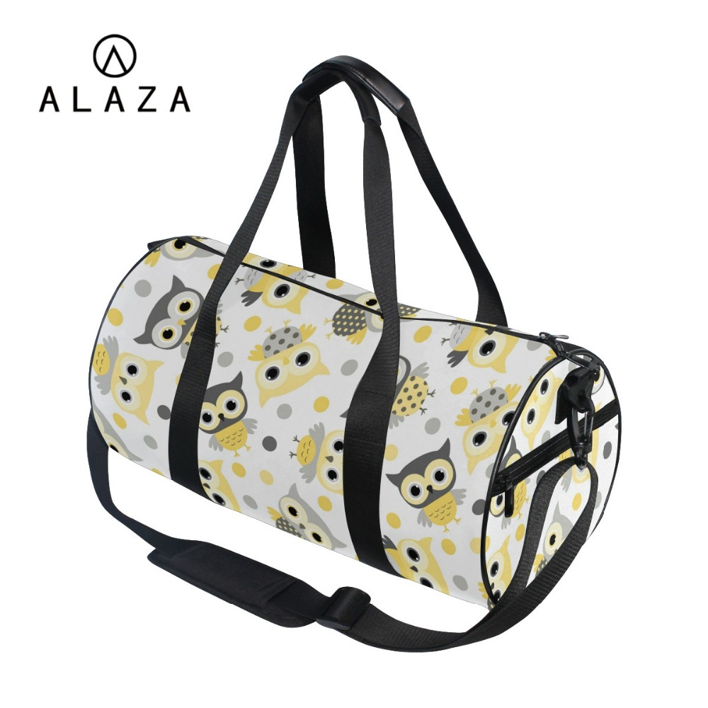 ALAZA 2019 Barrel Style Canvas Travel Shoulder Bag Strap Women Cute Cartoon Owl Printing Big Storage Tote Handbag Sports BagALAZA 2019 Barrel Style Canvas Travel Shoulder Bag Strap Women Cute Cartoon Owl Printing Big Storage Tote Handbag Sports Bag