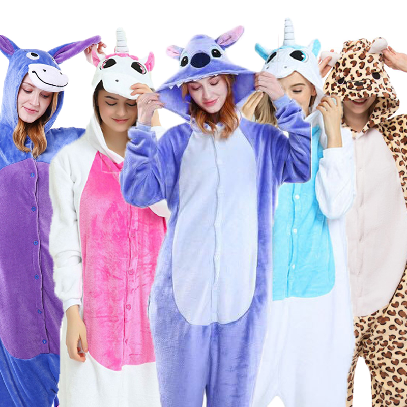 Unicorn Unisex Sleepwear Soft comfortable Animal   Pajamas     Set   Cute Cartoon Stich Womens Homewear For Girl Women Men